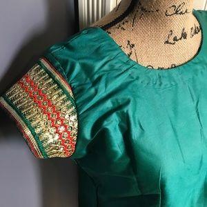 Gorgeous green handmade dress tunic sequined