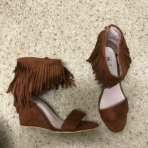 Shoes - Fringe wedge sandals *NWT