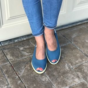 Blue Jean Fabric Peep Toe Kitten Wedge Espadrille
