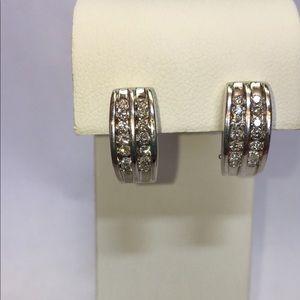 Jewelry - Bold 14K White Gold Diamond Omega Back Earrings