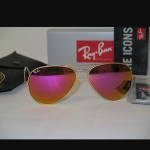 Ray-Ban aviator 112/4t pink lens gold frame 58MM