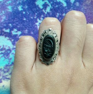Antique STERLING SILVER Black Onyx Cameo Ring