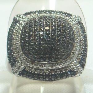 NWT Natural Black & White Diamond Ring Size 8
