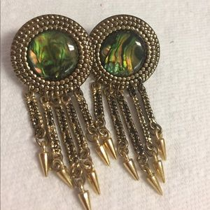 Vintage Simulated Ablone Clip Earrings