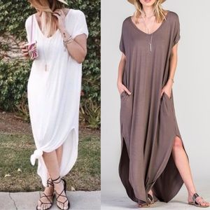 CHARLIZE solid boho dress - BROWN