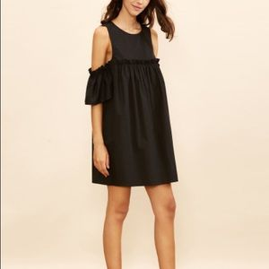 Cold shoulder black babydoll dress