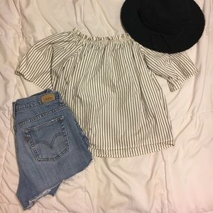 Light navy and white striped off the shoulder top