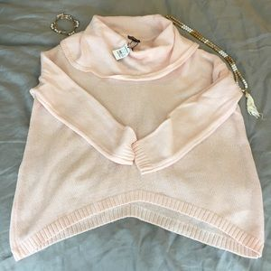 NWT Express Light Pink Oversized Cowl Neck Sweater