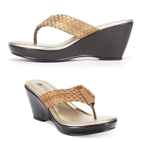 e4aab750be Shoes | White Mountain Wishlist Women Bronze Wedge Sandal | Poshmark