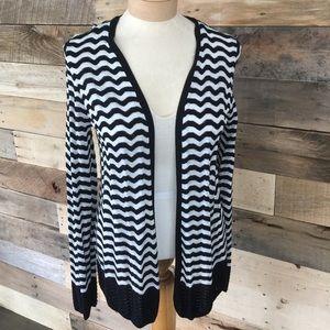 Loft black and white lightweight cardigan