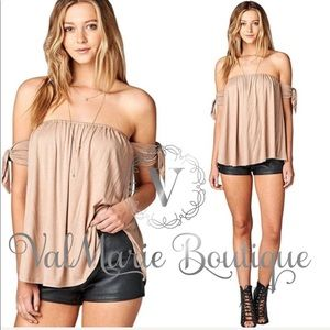 Khaki Off Shoulder Tie Arm Tube Top