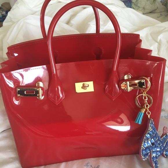 b17724123f16 Handbags - Cherry red jelly beachkin designer inspired bag