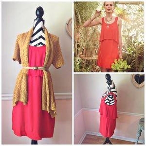 MaEve Boho Bright Red Dress