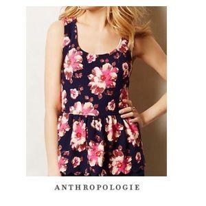 Anthropologie Postmark Floral Peplum Top