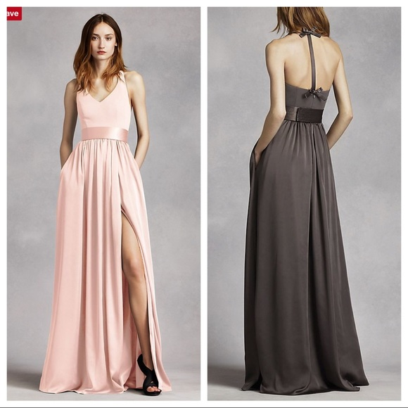 87f3aa54e00 Vera Wang White halter bridesmaid dress in Petal. M 597640ce6a5830d69d000a80