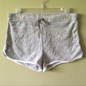 Soft Terrycloth Drawstring Shorts Light Grey White