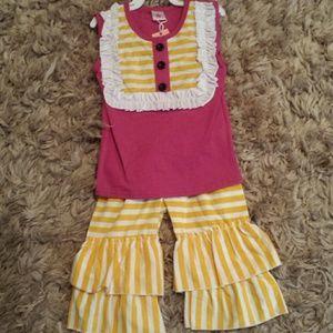 Other - Pink/yellow shorts set sz 18-24m