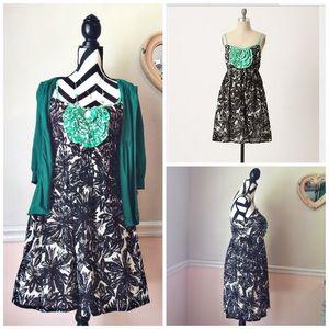 We Love Vera Ruffle Floral Black White Print Dress