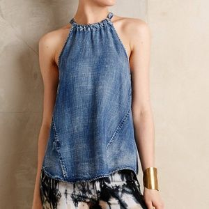 Cloth and stone chambray halter tank