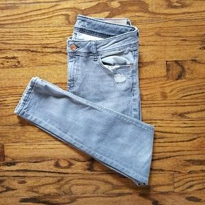 ZARA basic jeans 1975 light gray distressed skinny