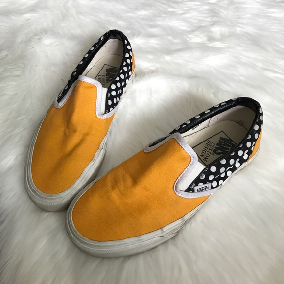 VANS Custom Design Yellow Black White Polka Dot