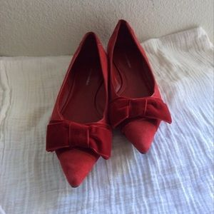 Red Velvet Suede Bow Flats
