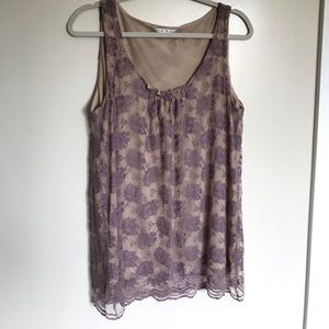 CAbi Lavender Lace Overlay Sleeveless Top