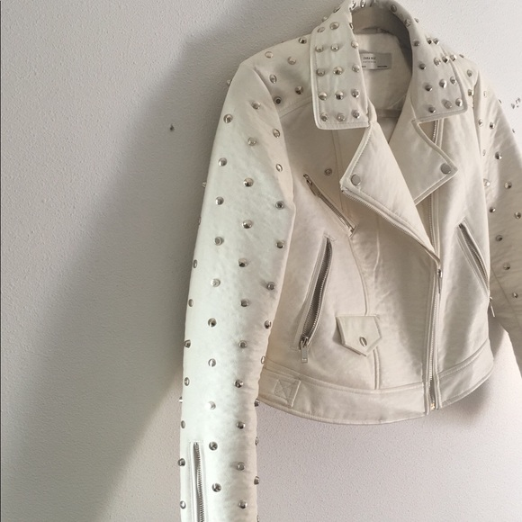 93df13cb Zara Jackets & Coats | Off White Studded Faux Leather Jacket Size ...