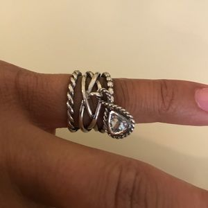 Sterling silver ring with charm
