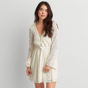 American Eagle Lace Up Bell Sleeve Dress