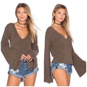 Free People Ribbed Bell Sleeve Starman Pullover
