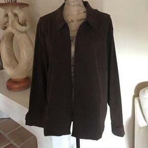 Jackets & Blazers - Faux Suede Chocolate Brown Jacket 1x