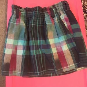 Cute plaid skirt with elastic stretch waistband!