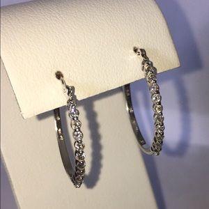 Jewelry - Designer 14K White Gold Diamond Hoop Earrings