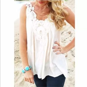 Tops - Lace slim chiffon blouse