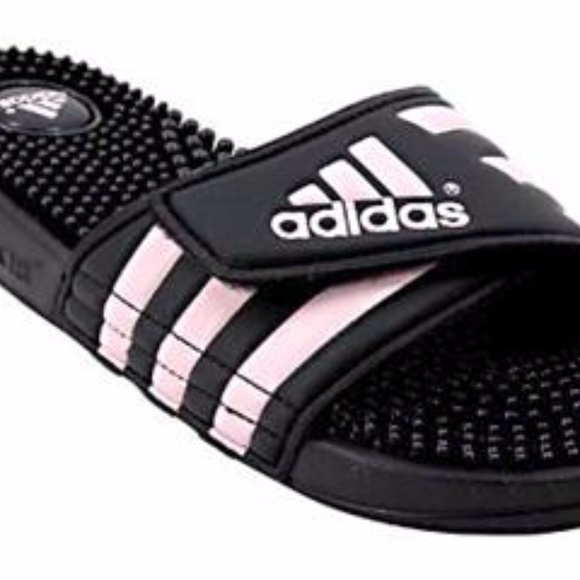 a6fcbbcfd adidas Shoes - Adidas Black with pink striped slides