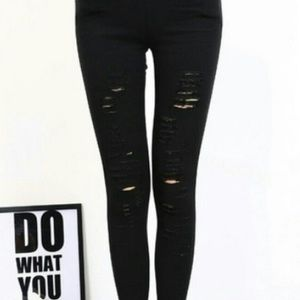Pants - High Waisted Ripped Skinnies