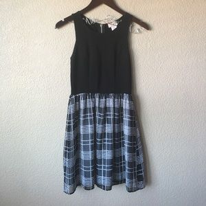 Love...ady Fit and Flare Plaid Black & White Dress