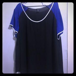 Torrid chiffon color block blouse