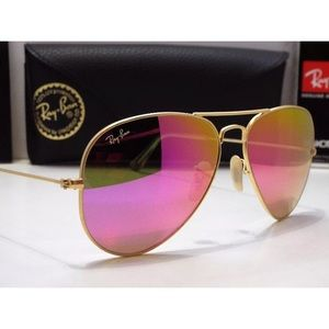 Ray-Ban aviator cyclamen pink flash lens gold