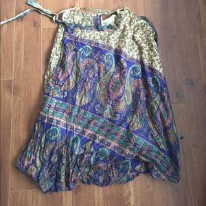 Dresses & Skirts - Vintage Indian Gypsy Silk Side Wrap Maxi Skirt
