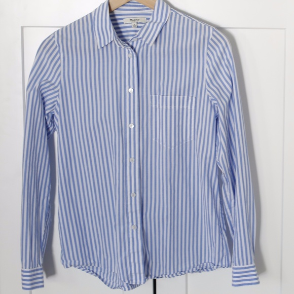 6cd34e8d3 Madewell Tops | Blue And White Striped Button Down Shirt | Poshmark