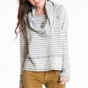 Free People Striped Cowl Neck Knit