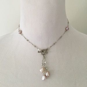 Purple Freshwater Pearl Lariat necklace/ earrings
