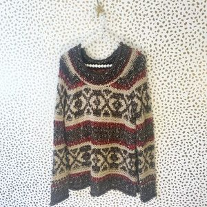 Free People Knitted Oversized Printed Sweater