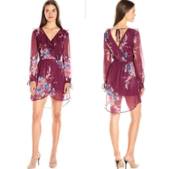 9a005e076d ❤NWT BAND OF GYPSIES BOUQUET FLORAL WRAP DRESS