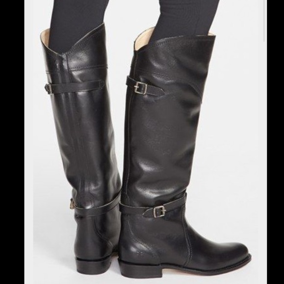 Frye black leather dorado riding boots
