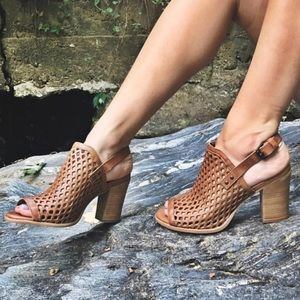 Tan Leather Perforated Sandal