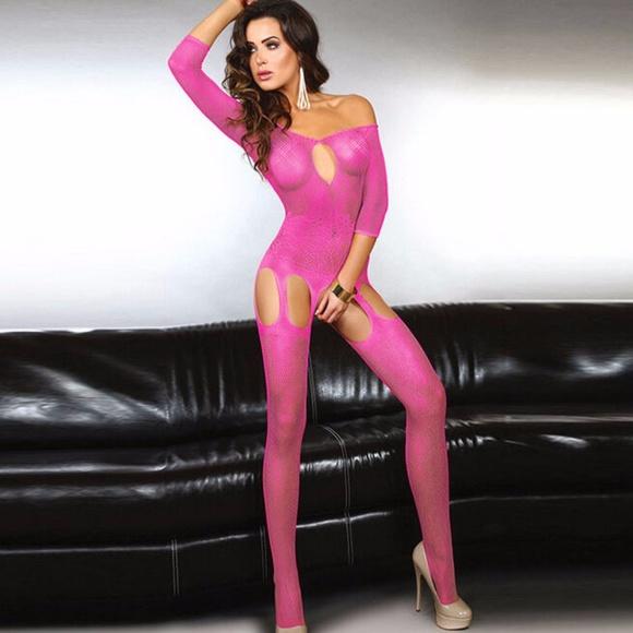 eb75998b5d Hot Pink Fishnet Body Stocking Bodysuit Garter 36
