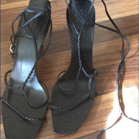 e16843f70 Gucci Shoes | Vintage Embossed Braided Laceup Heels | Poshmark